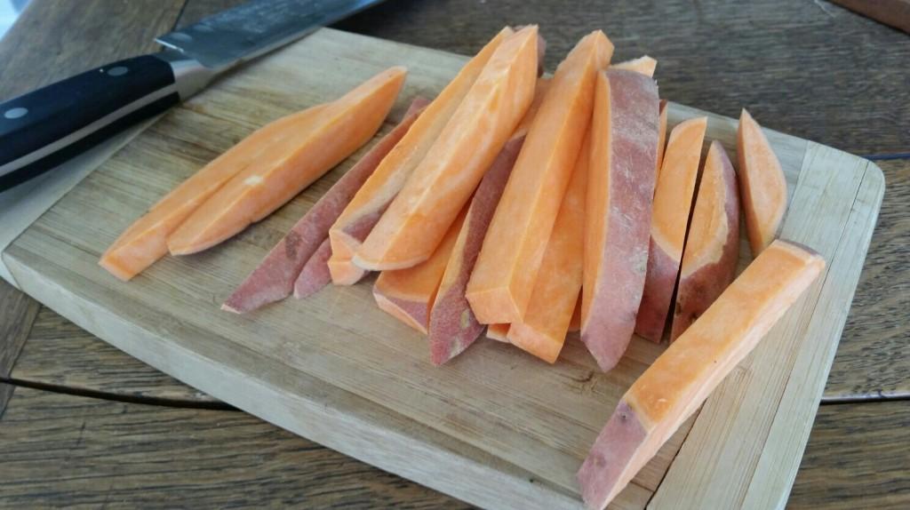 chopped sweet potatoes fries