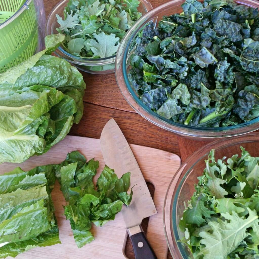 lettuce prep - clovers & kale