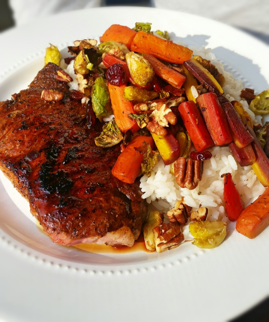 Roasted Brussels & Carrots with Steak- Clovers & Kale