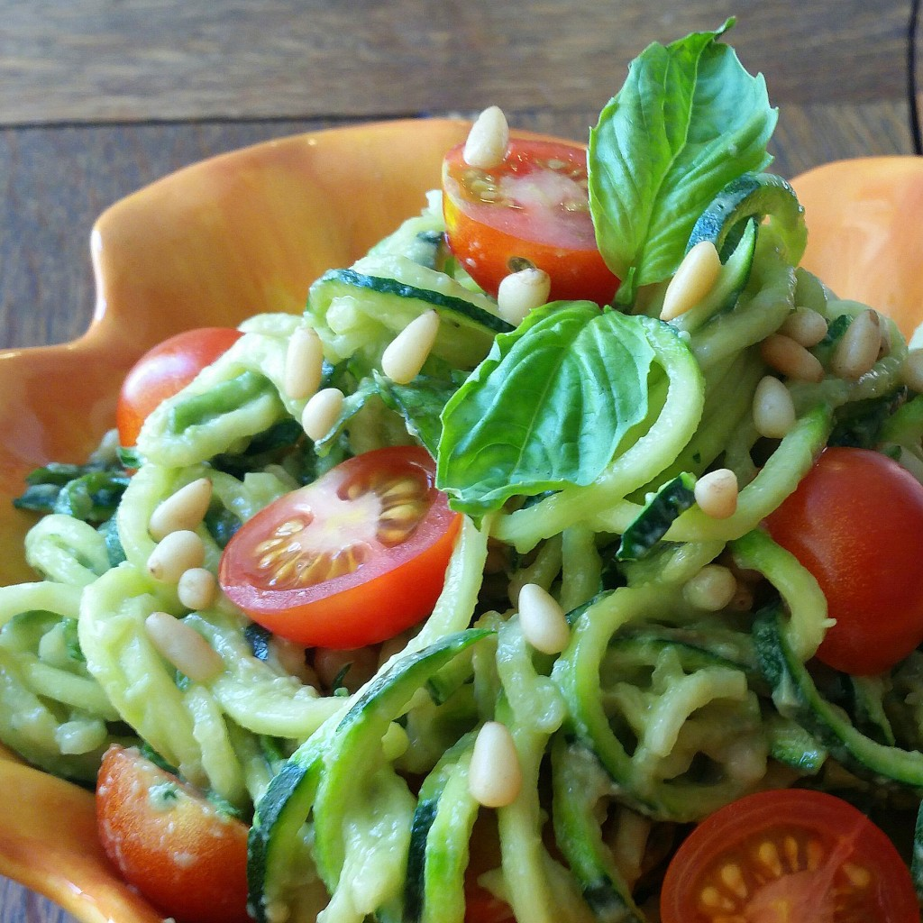 Creamy Avocado Pesto + Zucchini Noodles | Clovers & Kale | Vegan + Paleo
