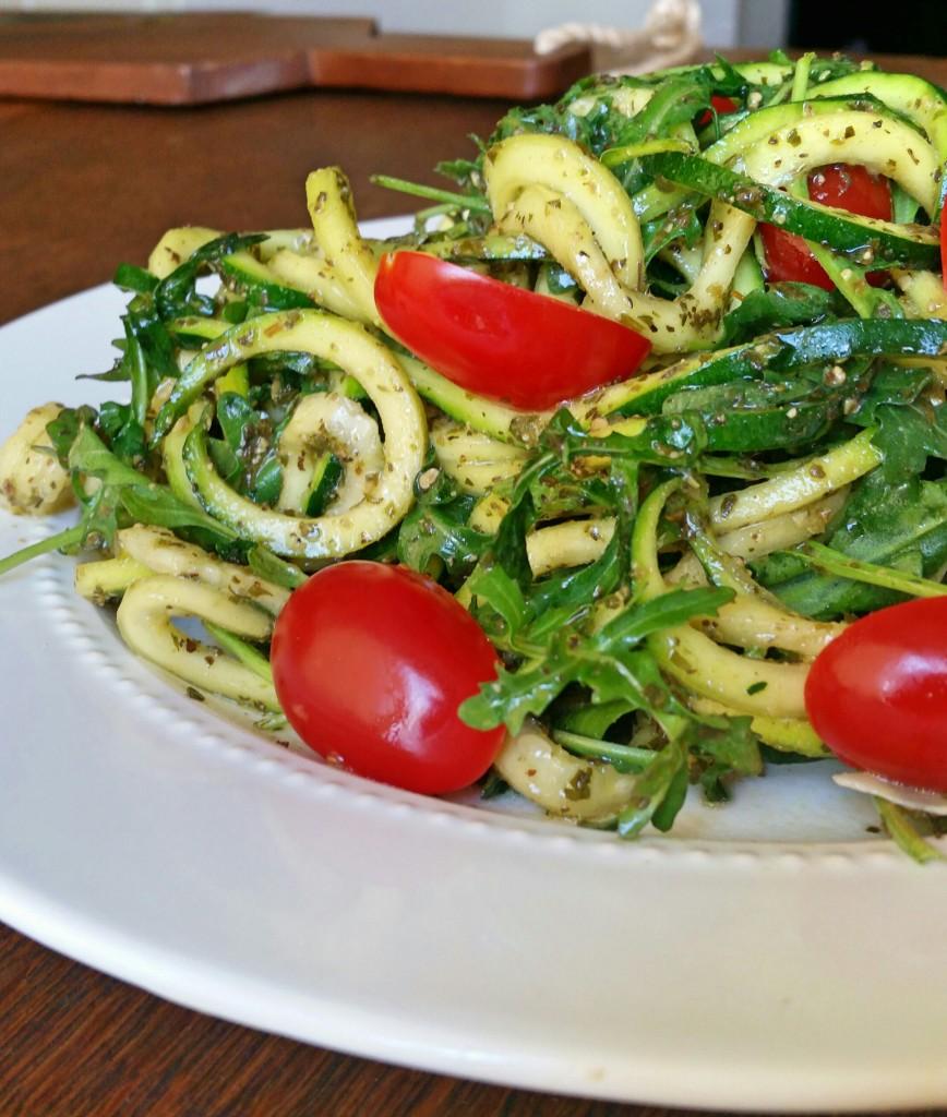 Clovers & Kale - Arugula - Zucchini Noodles - Pesto - Recipe