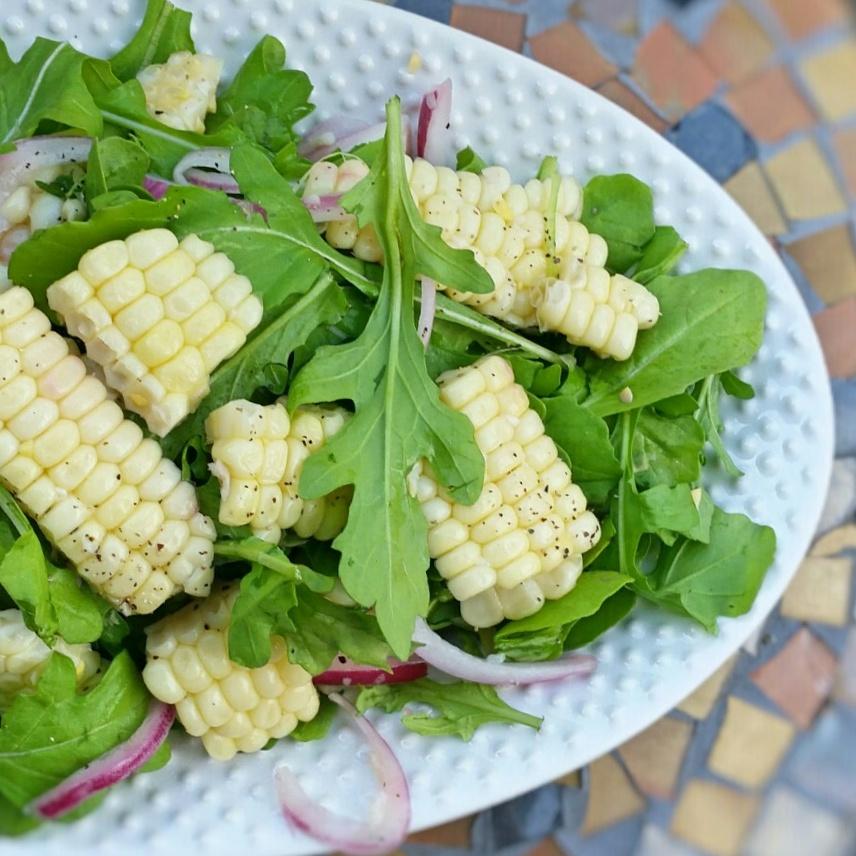 Corn + Arugula - Salad Recipe - Clovers & Kale - 6 ingredient Salad